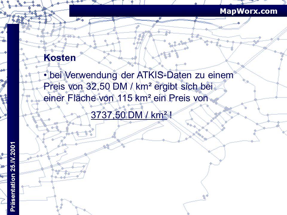 MapWorx.com Präsentation 25.IV.2001 Kosten bei Verwendung der ATKIS-Daten zu einem Preis von 32,50 DM / km² ergibt sich bei einer Fläche von 115 km² e