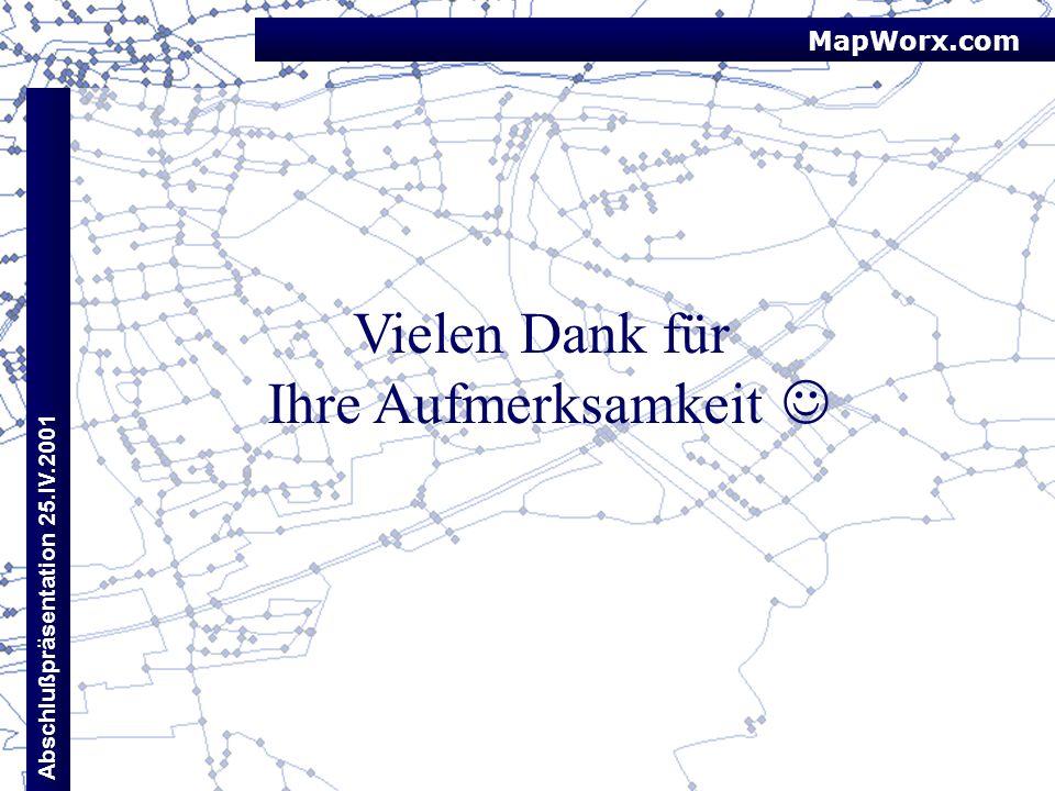 MapWorx.com Abschlußpräsentation 25.IV.2001 Vielen Dank für Ihre Aufmerksamkeit