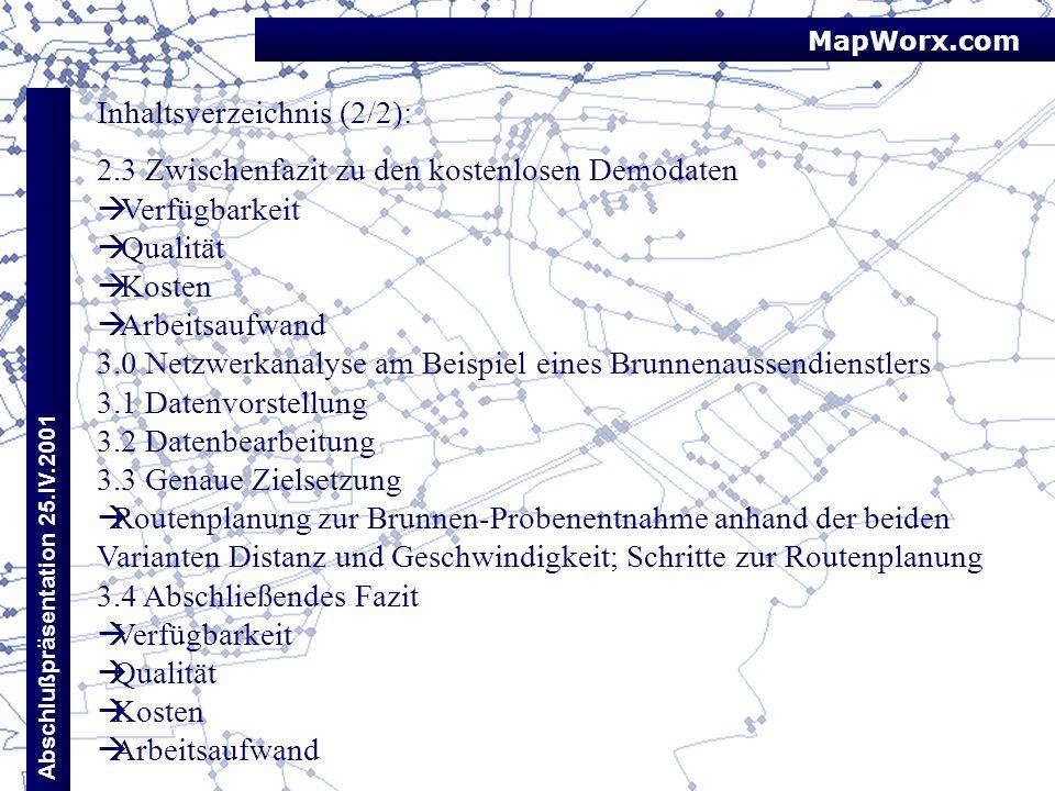 MapWorx.com Abschlußpräsentation 25.IV.2001 Inhaltsverzeichnis (2/2): 2.3 Zwischenfazit zu den kostenlosen Demodaten Verfügbarkeit Qualität Kosten Arb