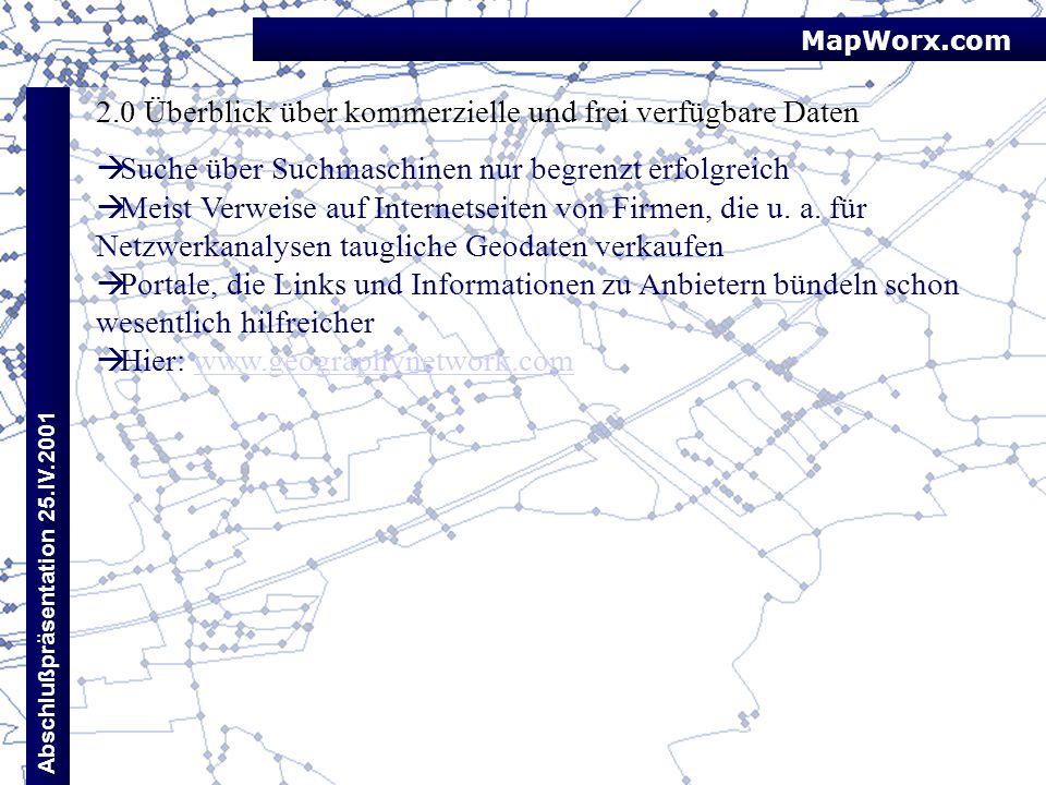 MapWorx.com Abschlußpräsentation 25.IV.2001 2.0 Überblick über kommerzielle und frei verfügbare Daten Suche über Suchmaschinen nur begrenzt erfolgreic