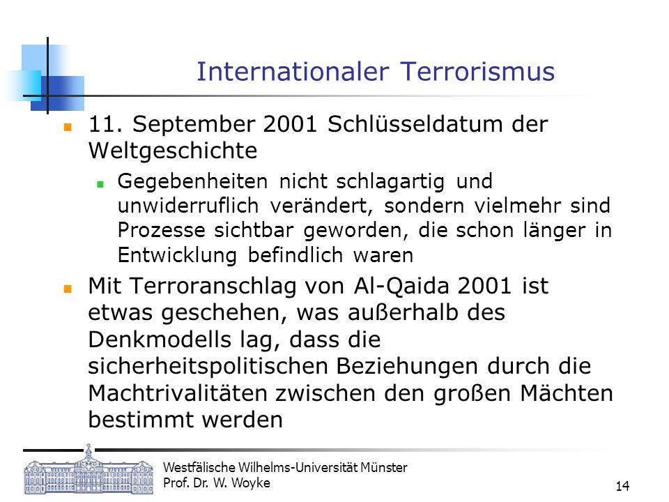 Westfälische Wilhelms-Universität Münster Prof. Dr. W. Woyke 14 Internationaler Terrorismus 11. September 2001 Schlüsseldatum der Weltgeschichte Gegeb