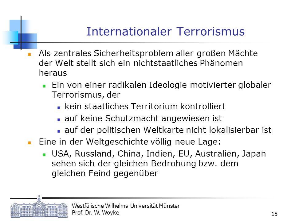 Westfälische Wilhelms-Universität Münster Prof. Dr. W. Woyke 15 Internationaler Terrorismus Als zentrales Sicherheitsproblem aller großen Mächte der W