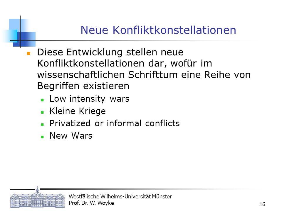 Westfälische Wilhelms-Universität Münster Prof. Dr. W. Woyke 16 Neue Konfliktkonstellationen Diese Entwicklung stellen neue Konfliktkonstellationen da