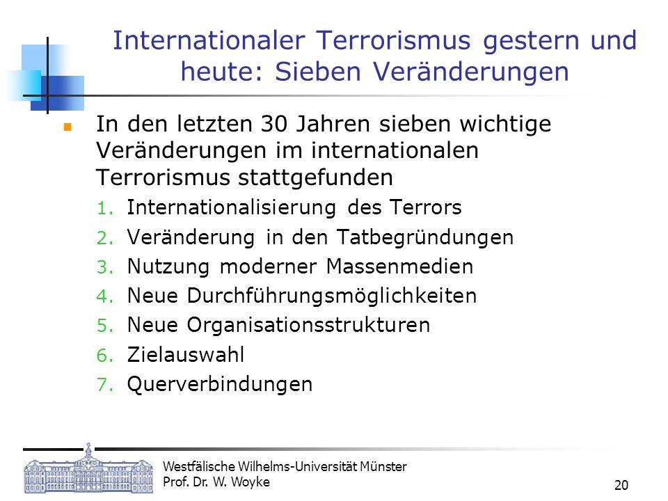Westfälische Wilhelms-Universität Münster Prof. Dr. W. Woyke 20 Internationaler Terrorismus gestern und heute: Sieben Veränderungen In den letzten 30