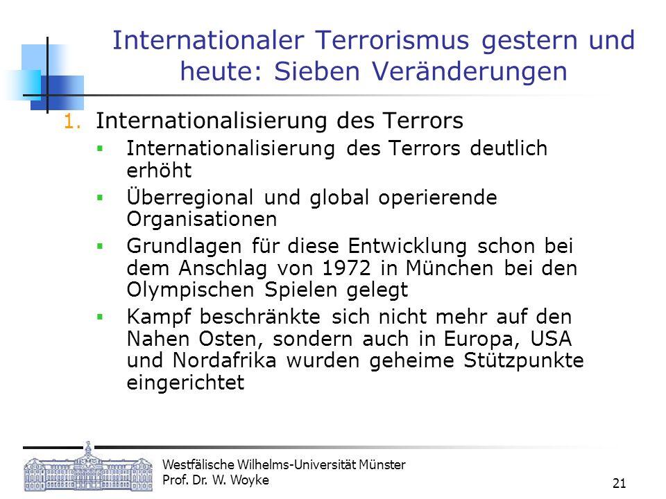 Westfälische Wilhelms-Universität Münster Prof. Dr. W. Woyke 21 Internationaler Terrorismus gestern und heute: Sieben Veränderungen 1. Internationalis