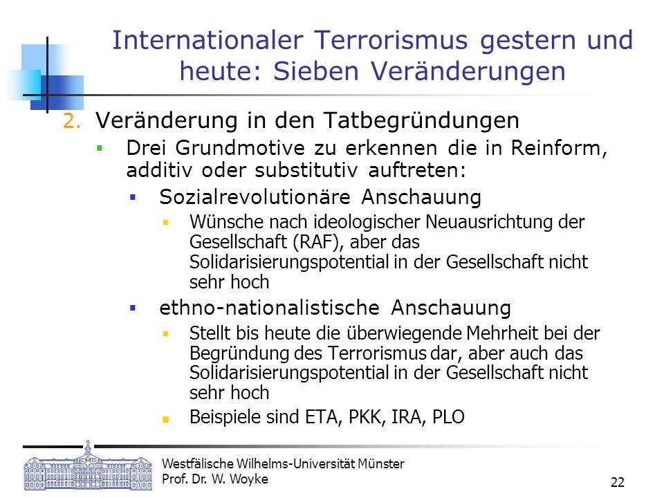 Westfälische Wilhelms-Universität Münster Prof. Dr. W. Woyke 22 Internationaler Terrorismus gestern und heute: Sieben Veränderungen 2. Veränderung in
