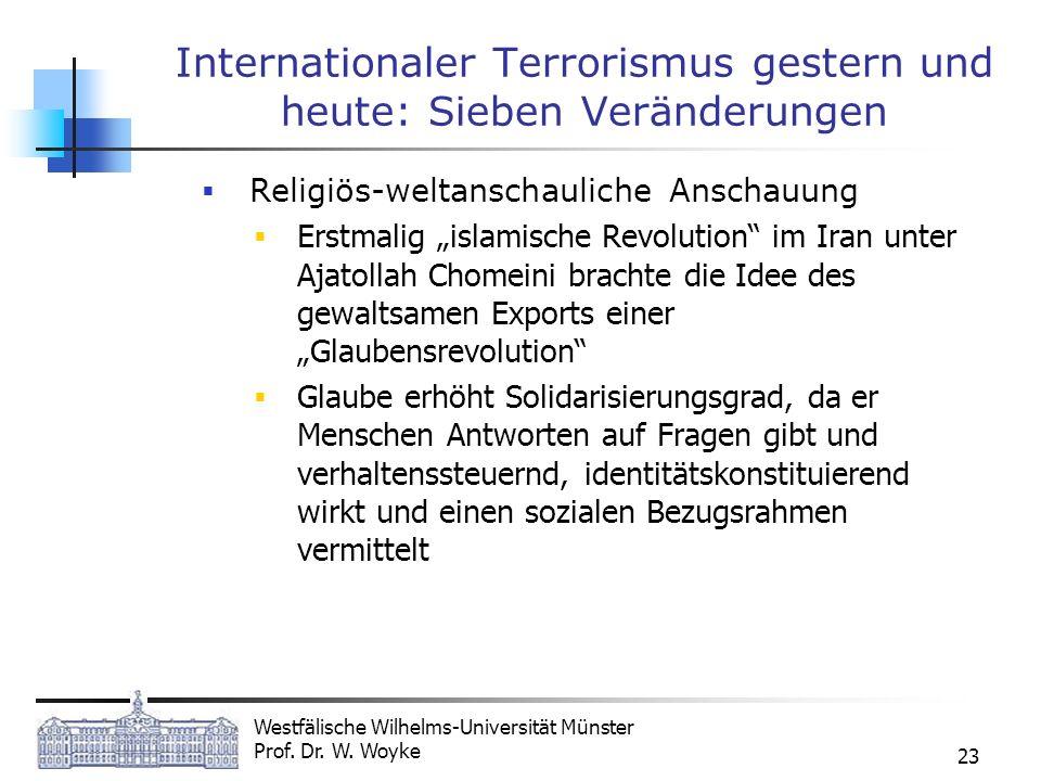 Westfälische Wilhelms-Universität Münster Prof. Dr. W. Woyke 23 Internationaler Terrorismus gestern und heute: Sieben Veränderungen Religiös-weltansch