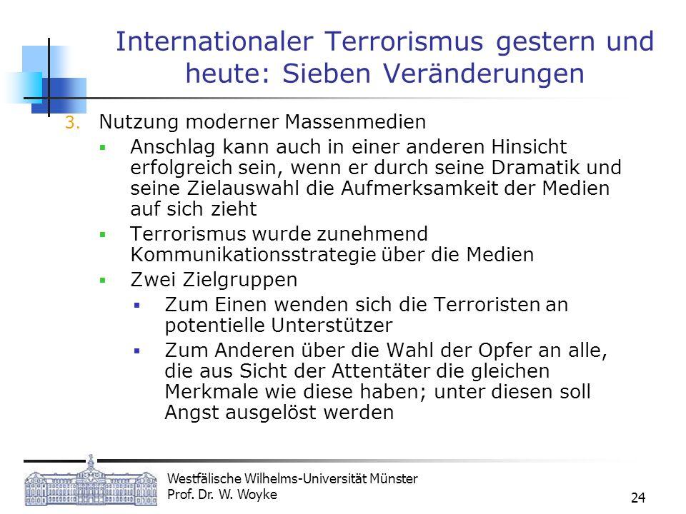 Westfälische Wilhelms-Universität Münster Prof. Dr. W. Woyke 24 Internationaler Terrorismus gestern und heute: Sieben Veränderungen 3. Nutzung moderne
