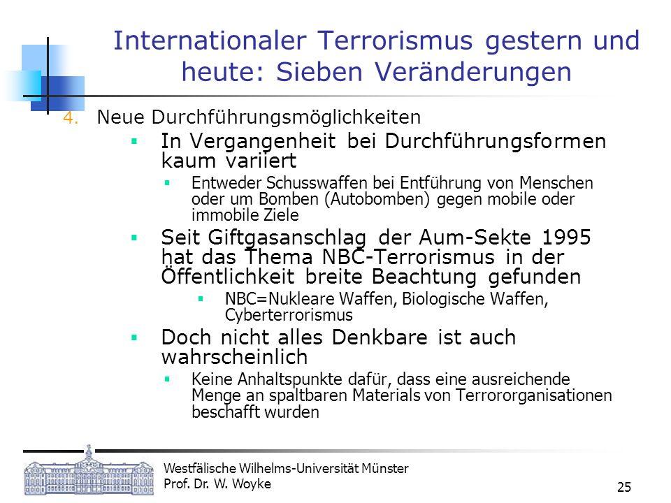 Westfälische Wilhelms-Universität Münster Prof. Dr. W. Woyke 25 Internationaler Terrorismus gestern und heute: Sieben Veränderungen 4. Neue Durchführu