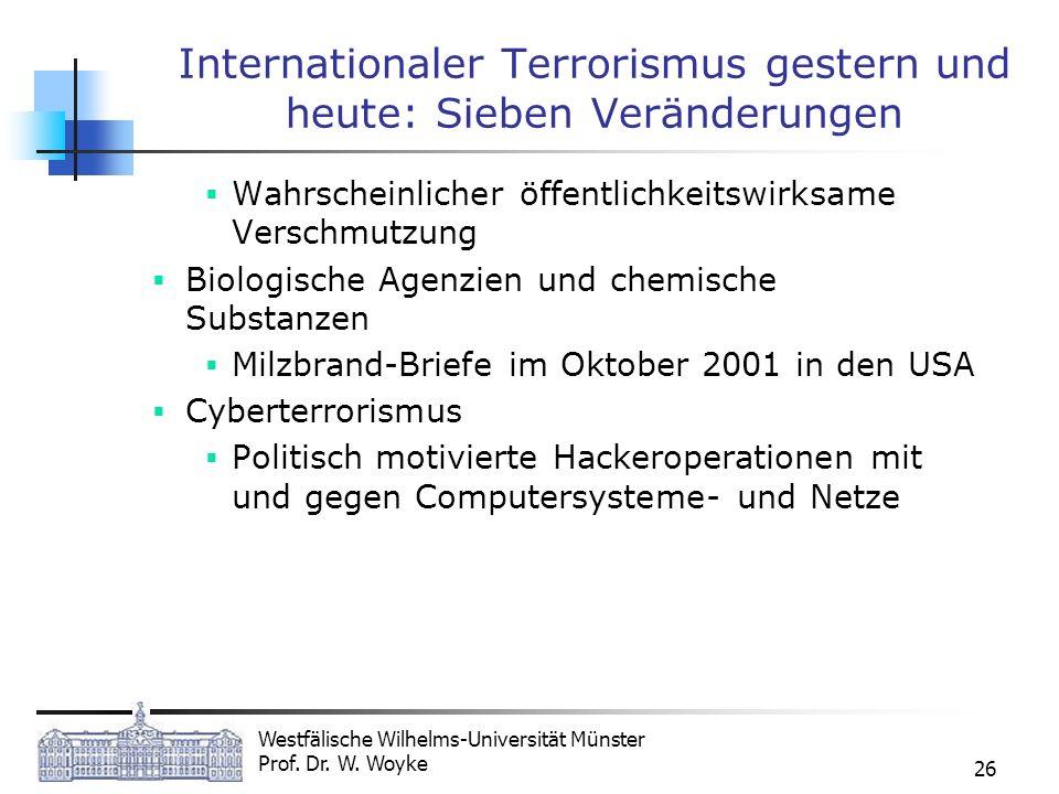 Westfälische Wilhelms-Universität Münster Prof. Dr. W. Woyke 26 Internationaler Terrorismus gestern und heute: Sieben Veränderungen Wahrscheinlicher ö