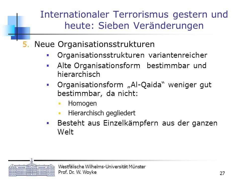 Westfälische Wilhelms-Universität Münster Prof. Dr. W. Woyke 27 Internationaler Terrorismus gestern und heute: Sieben Veränderungen 5. Neue Organisati