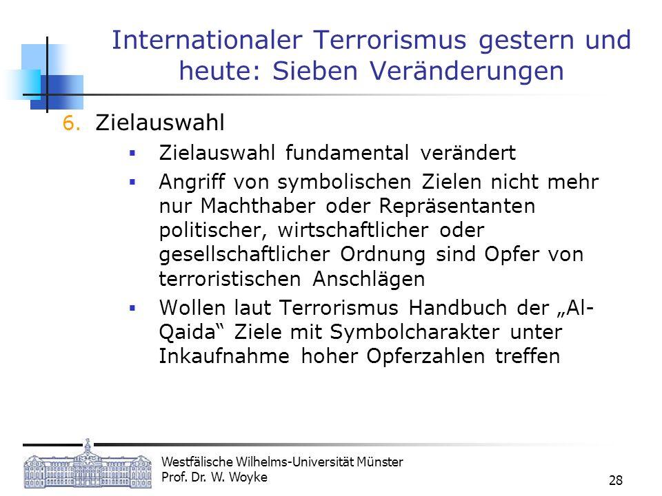 Westfälische Wilhelms-Universität Münster Prof. Dr. W. Woyke 28 Internationaler Terrorismus gestern und heute: Sieben Veränderungen 6. Zielauswahl Zie