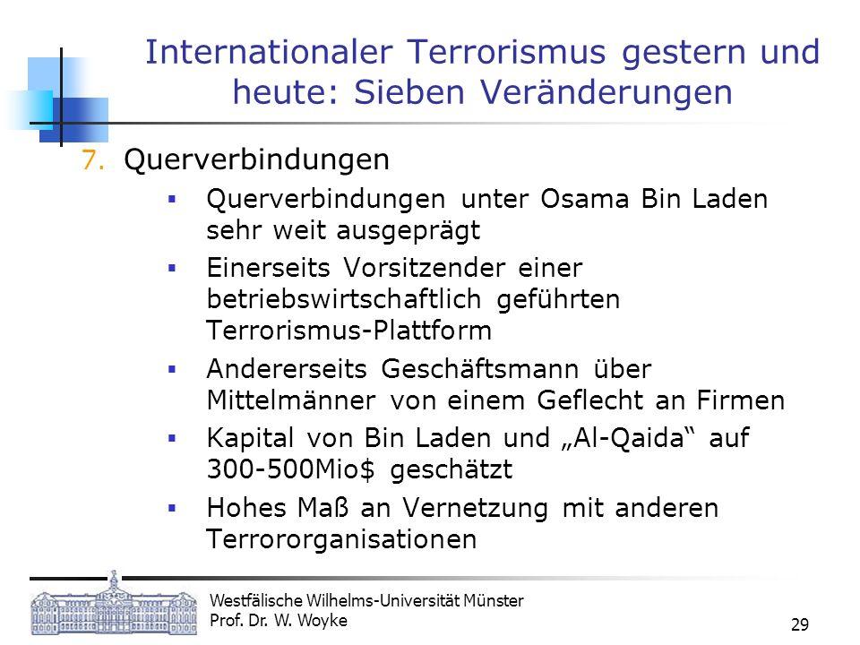 Westfälische Wilhelms-Universität Münster Prof. Dr. W. Woyke 29 Internationaler Terrorismus gestern und heute: Sieben Veränderungen 7. Querverbindunge