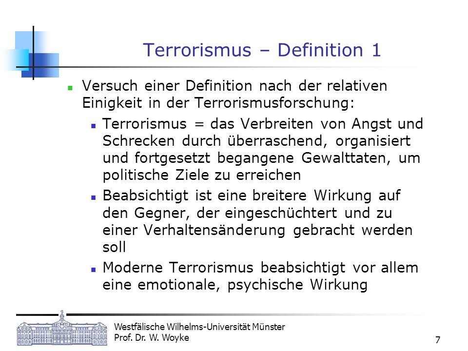 Westfälische Wilhelms-Universität Münster Prof. Dr. W. Woyke 7 Terrorismus – Definition 1 Versuch einer Definition nach der relativen Einigkeit in der