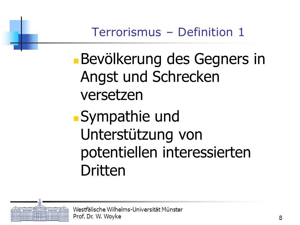 Westfälische Wilhelms-Universität Münster Prof. Dr. W. Woyke 8 Terrorismus – Definition 1 Bevölkerung des Gegners in Angst und Schrecken versetzen Sym