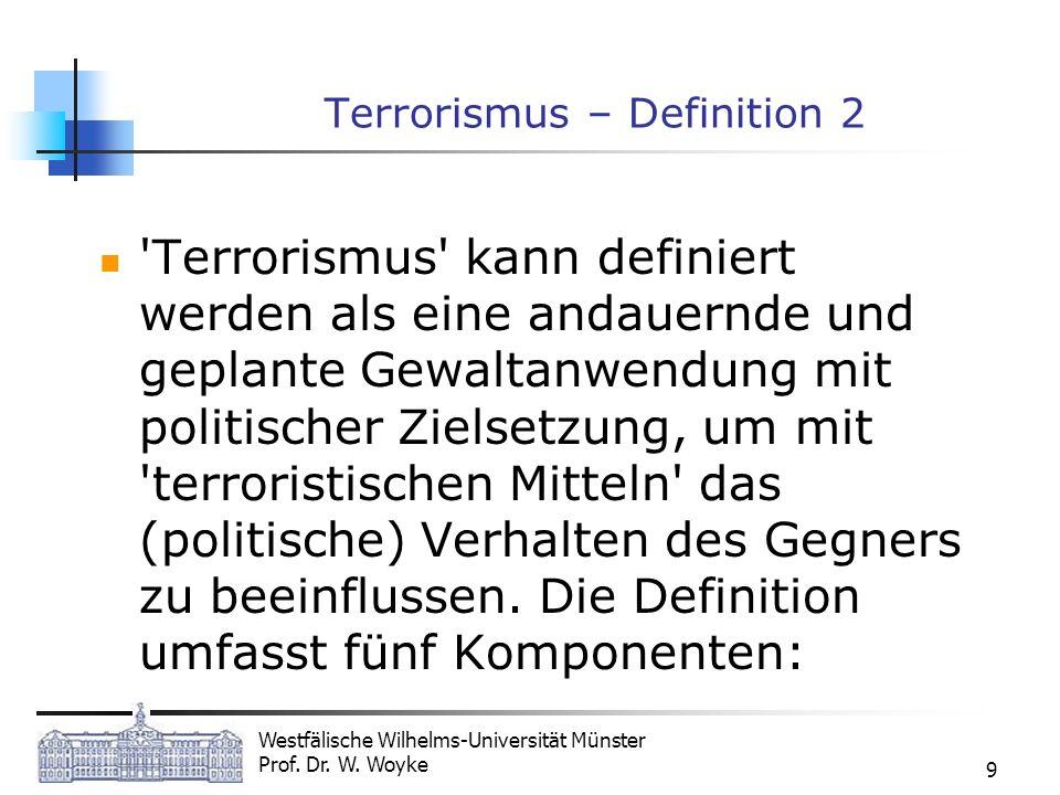 Westfälische Wilhelms-Universität Münster Prof. Dr. W. Woyke 9 Terrorismus – Definition 2 'Terrorismus' kann definiert werden als eine andauernde und