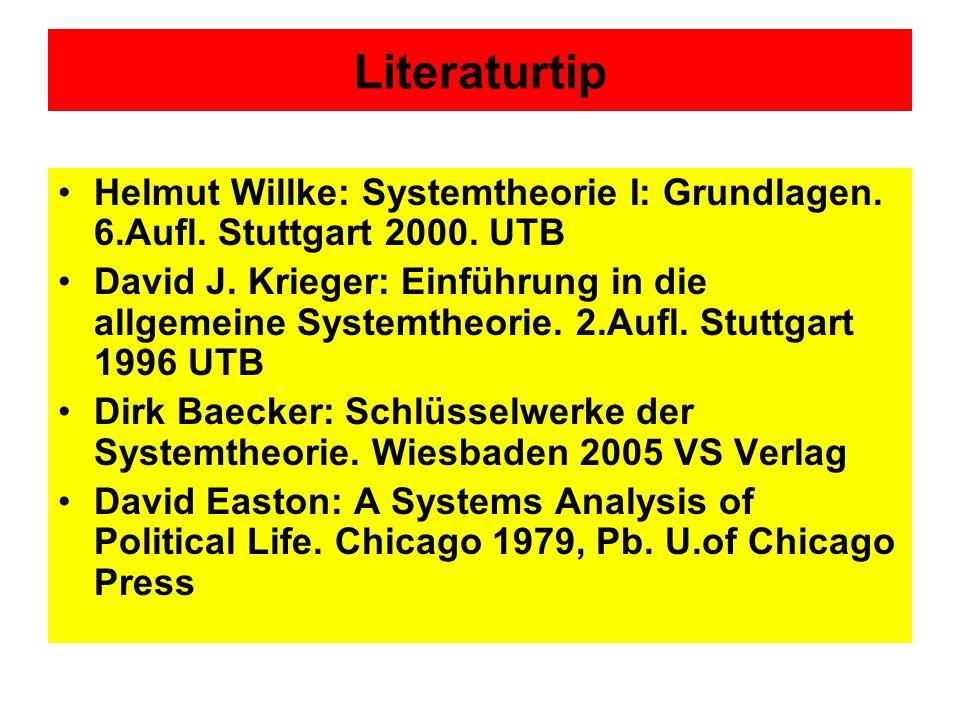 Literaturtip Helmut Willke: Systemtheorie I: Grundlagen.