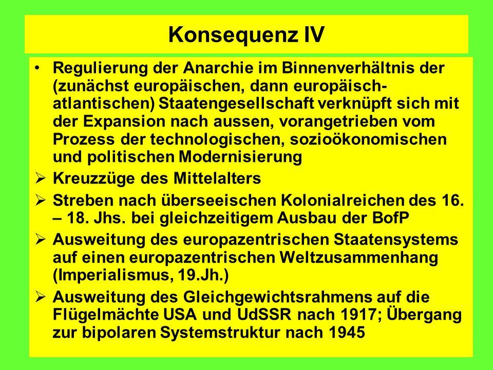 Konsequenz IV Regulierung der Anarchie im Binnenverhältnis der (zunächst europäischen, dann europäisch- atlantischen) Staatengesellschaft verknüpft sich mit der Expansion nach aussen, vorangetrieben vom Prozess der technologischen, sozioökonomischen und politischen Modernisierung Kreuzzüge des Mittelalters Streben nach überseeischen Kolonialreichen des 16.