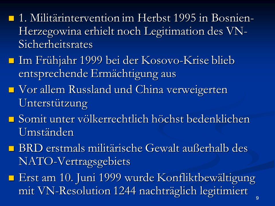 10 Nach Anschlägen des 11.9.2001 erklärte NATO erstmals den Bündnisfall gemäß Artikel 5 Nach Anschlägen des 11.9.2001 erklärte NATO erstmals den Bündnisfall gemäß Artikel 5 Seit Ende der Balkan Kriege jedoch für USA die Funktion der NATO geändert Seit Ende der Balkan Kriege jedoch für USA die Funktion der NATO geändert Seit Ende des Kalten Krieges NATO aus Sicht der USA nicht mehr Funktion zur kollektiven Verteidigung Seit Ende des Kalten Krieges NATO aus Sicht der USA nicht mehr Funktion zur kollektiven Verteidigung USA will weiter in Europa präsent bleiben USA will weiter in Europa präsent bleiben Die Europäer brauchen NATO mehr als USA Die Europäer brauchen NATO mehr als USA Für Europa sowohl kollektive Verteidigungsorganisation als auch Instrument der Politik-Koordination Für Europa sowohl kollektive Verteidigungsorganisation als auch Instrument der Politik-Koordination