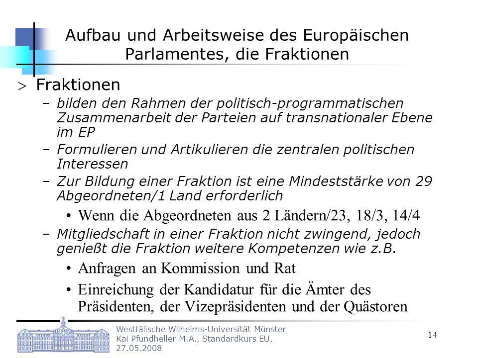 Westfälische Wilhelms-Universität Münster Kai Pfundheller M.A., Standardkurs EU, 27.05.2008 14 Aufbau und Arbeitsweise des Europäischen Parlamentes, d