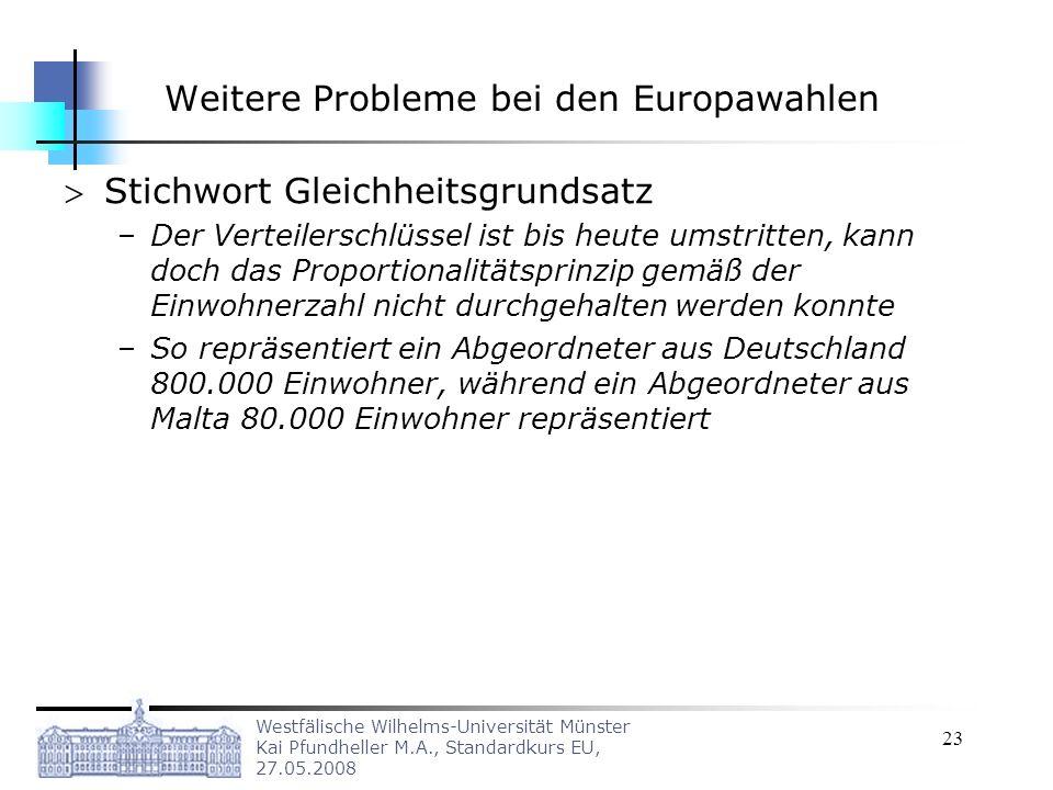Westfälische Wilhelms-Universität Münster Kai Pfundheller M.A., Standardkurs EU, 27.05.2008 23 Weitere Probleme bei den Europawahlen Stichwort Gleichh