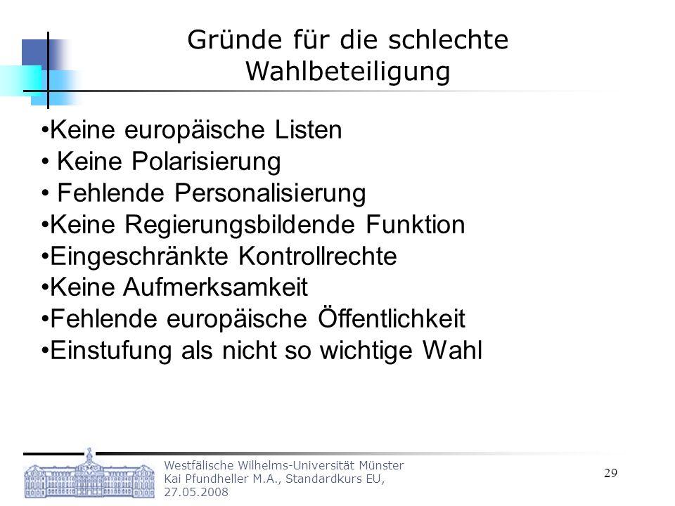 Westfälische Wilhelms-Universität Münster Kai Pfundheller M.A., Standardkurs EU, 27.05.2008 29 Keine europäische Listen Keine Polarisierung Fehlende P