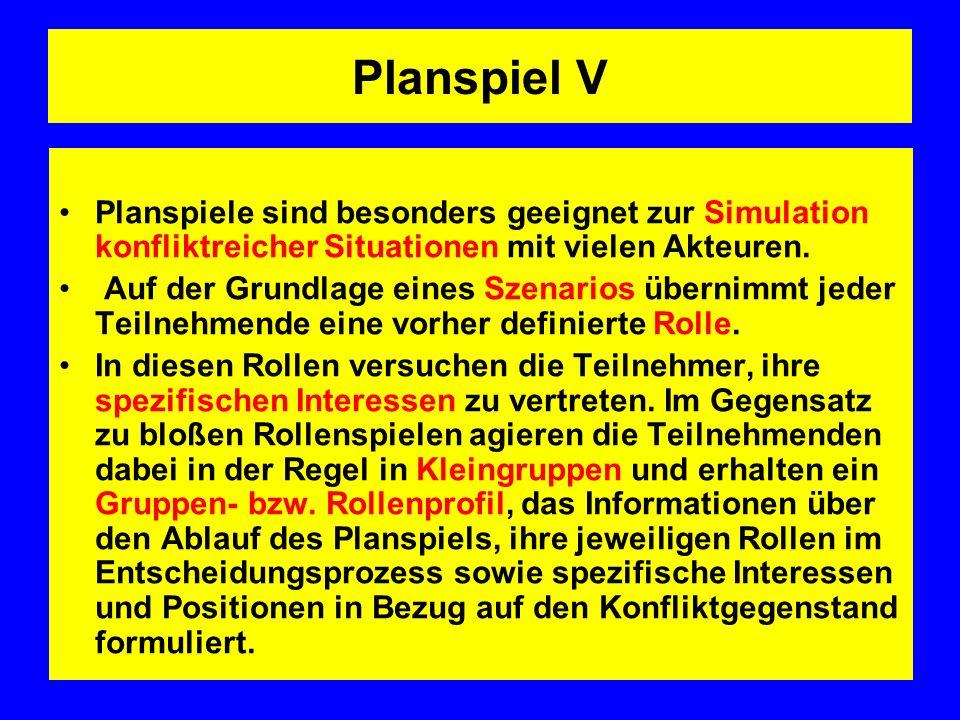 Planspiel V Planspiele sind besonders geeignet zur Simulation konfliktreicher Situationen mit vielen Akteuren.