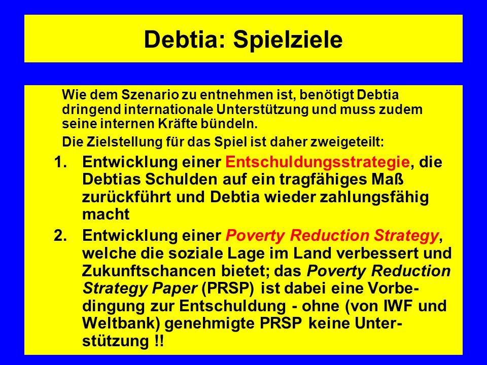 Debtia: Spielziele Wie dem Szenario zu entnehmen ist, benötigt Debtia dringend internationale Unterstützung und muss zudem seine internen Kräfte bündeln.