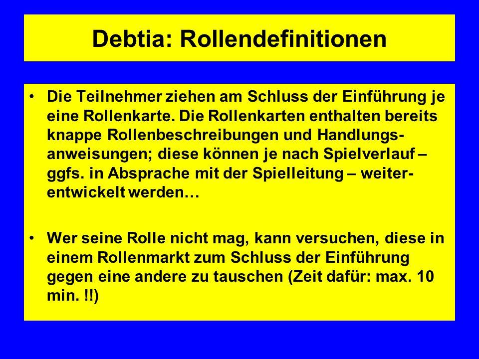 Debtia: Rollendefinitionen Die Teilnehmer ziehen am Schluss der Einführung je eine Rollenkarte.