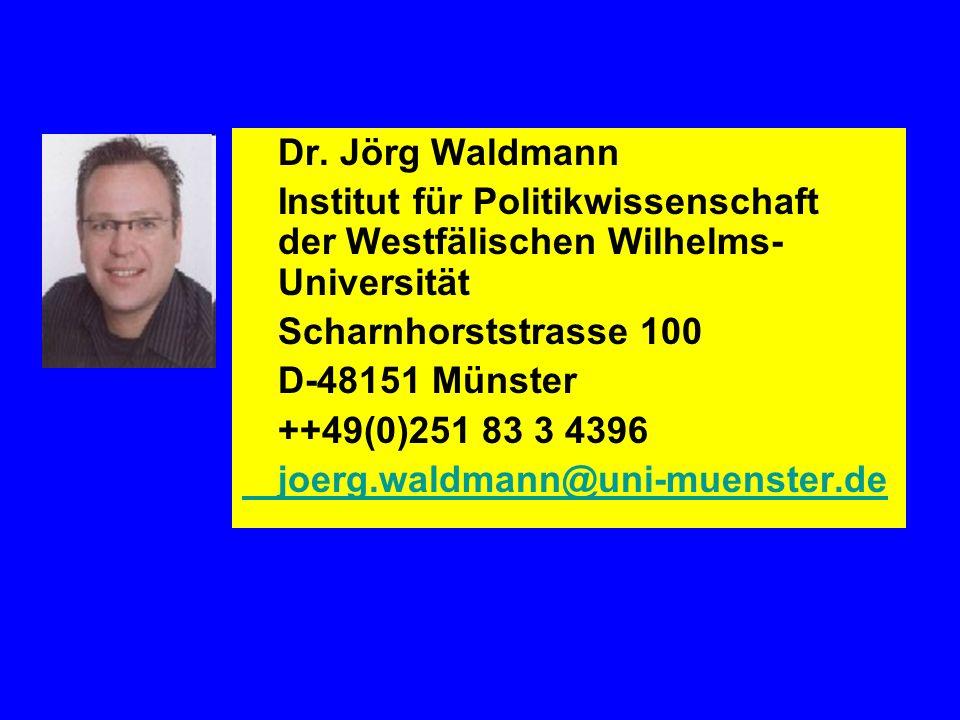Dr. Jörg Waldmann Institut für Politikwissenschaft der Westfälischen Wilhelms- Universität Scharnhorststrasse 100 D-48151 Münster ++49(0)251 83 3 4396