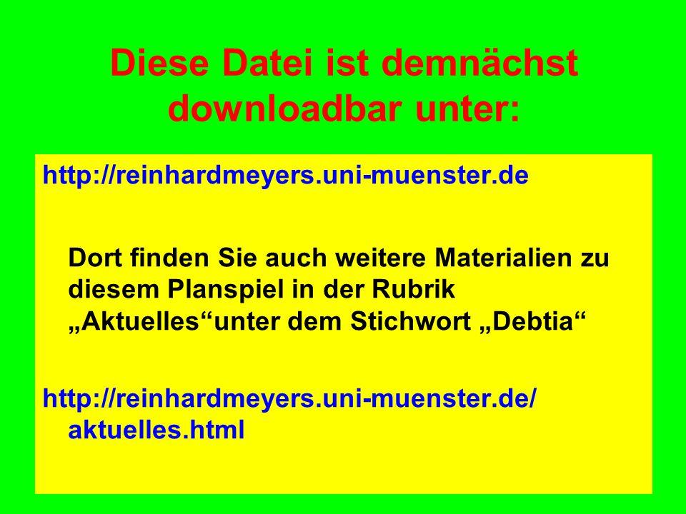 Diese Datei ist demnächst downloadbar unter: http://reinhardmeyers.uni-muenster.de Dort finden Sie auch weitere Materialien zu diesem Planspiel in der Rubrik Aktuellesunter dem Stichwort Debtia http://reinhardmeyers.uni-muenster.de/ aktuelles.html