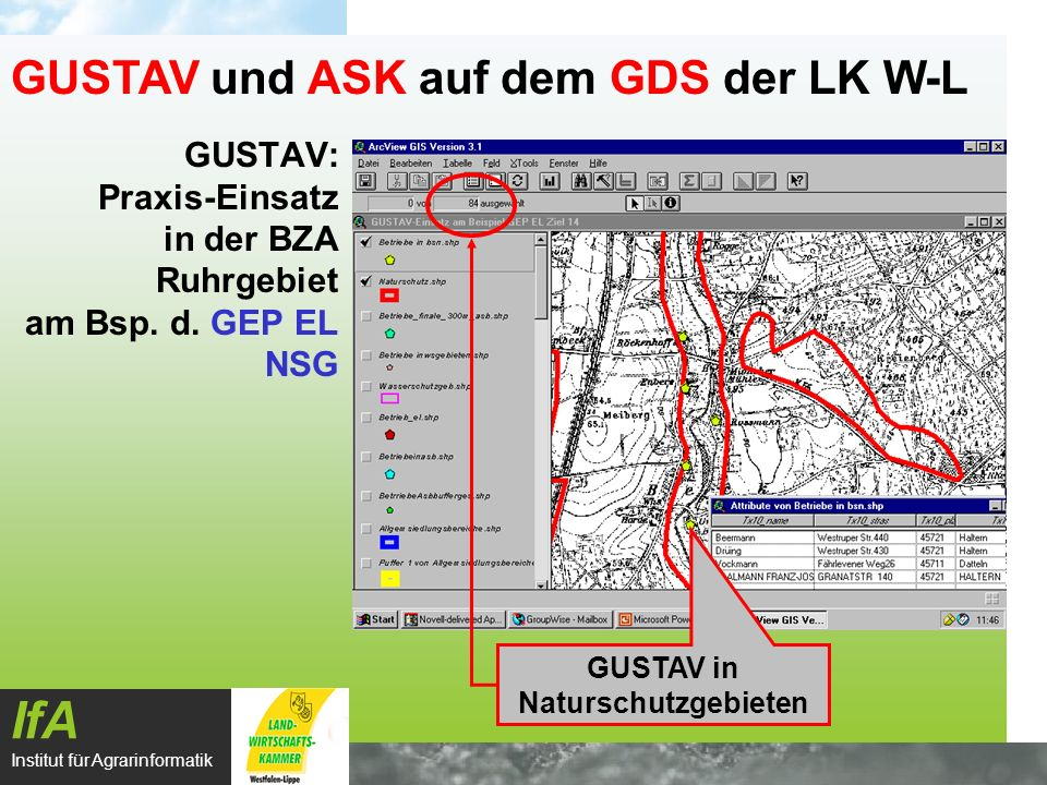 GUSTAV: Praxis-Einsatz in der BZA Ruhrgebiet am Bsp. d. GEP EL NSG IfA Institut für Agrarinformatik GUSTAV und ASK auf dem GDS der LK W-L GUSTAV in Na