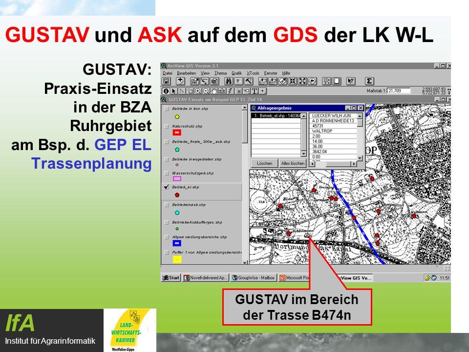 GUSTAV: Praxis-Einsatz in der BZA Ruhrgebiet am Bsp. d. GEP EL Trassenplanung IfA Institut für Agrarinformatik GUSTAV und ASK auf dem GDS der LK W-L G