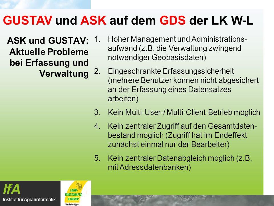 ASK und GUSTAV: zukünftige Erfassung und Verwaltung auf dem GDS IfA Institut für Agrarinformatik GUSTAV und ASK auf dem GDS der LK W-L BZA 1BZA 2KS 1Ort X Anwender 1 Anwender 2 Anwender 3 Anwender X ArcView Ext.