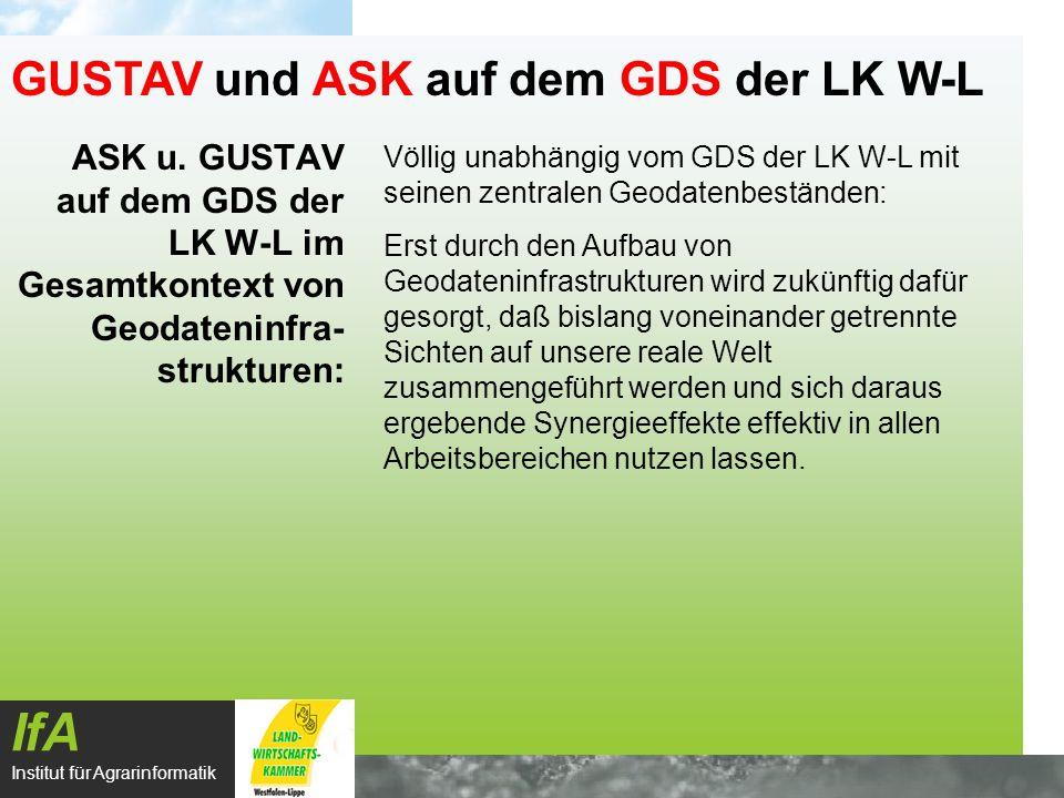 ASK u. GUSTAV auf dem GDS der LK W-L im Gesamtkontext von Geodateninfra- strukturen: IfA Institut für Agrarinformatik GUSTAV und ASK auf dem GDS der L