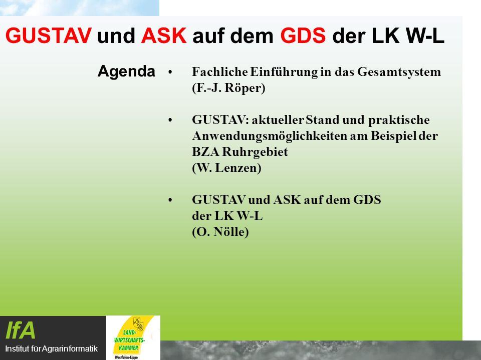 Agenda IfA Institut für Agrarinformatik GUSTAV und ASK auf dem GDS der LK W-L Fachliche Einführung in das Gesamtsystem (F.-J. Röper) GUSTAV: aktueller
