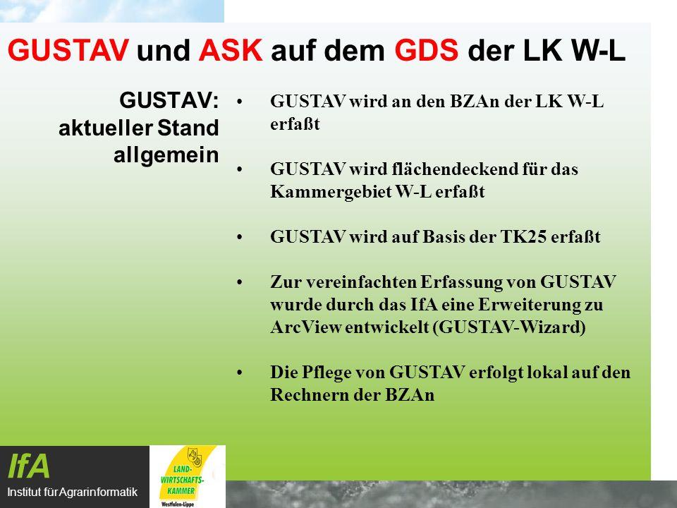 GUSTAV: aktueller Stand allgemein IfA Institut für Agrarinformatik GUSTAV und ASK auf dem GDS der LK W-L GUSTAV wird an den BZAn der LK W-L erfaßt GUS