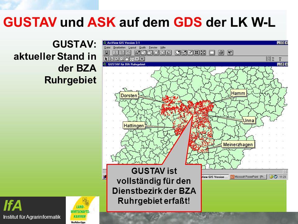 GUSTAV: aktueller Stand in der BZA Ruhrgebiet IfA Institut für Agrarinformatik GUSTAV und ASK auf dem GDS der LK W-L GUSTAV ist vollständig für den Di