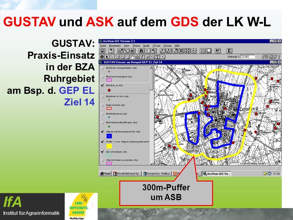 GUSTAV: Praxis-Einsatz in der BZA Ruhrgebiet am Bsp. d. GEP EL Ziel 14 IfA Institut für Agrarinformatik GUSTAV und ASK auf dem GDS der LK W-L 300m-Puf