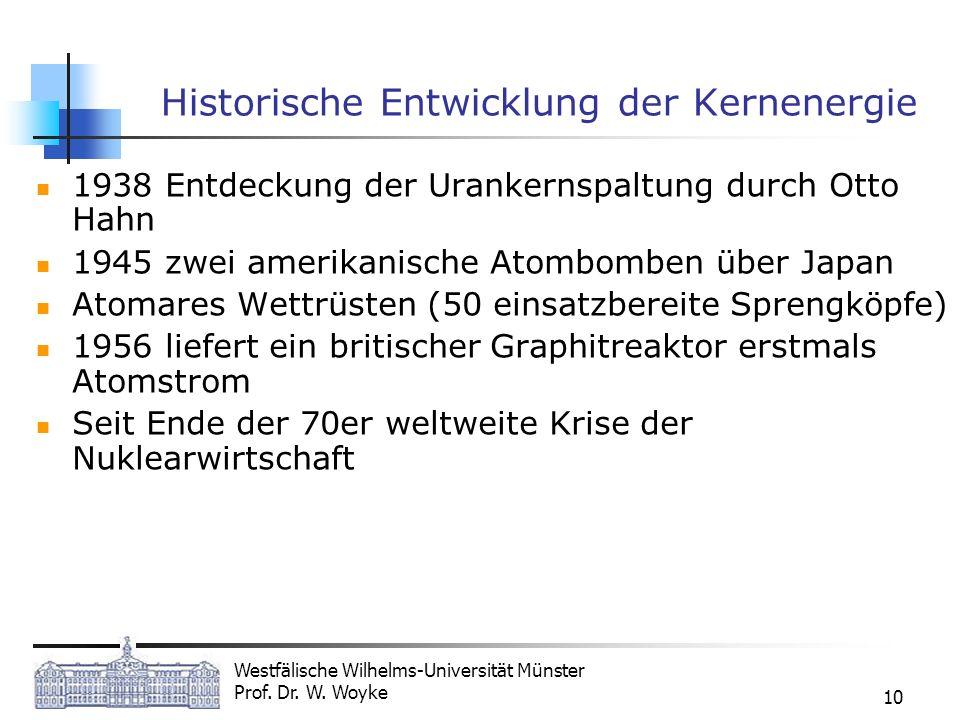 Westfälische Wilhelms-Universität Münster Prof. Dr. W. Woyke 10 Historische Entwicklung der Kernenergie 1938 Entdeckung der Urankernspaltung durch Ott