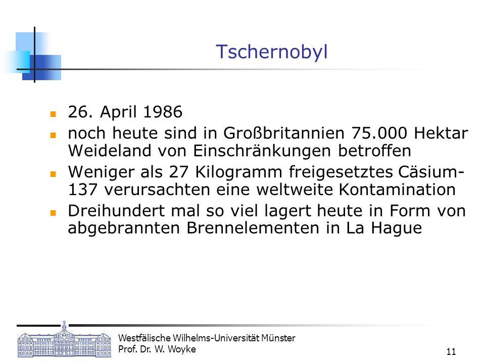 Westfälische Wilhelms-Universität Münster Prof. Dr. W. Woyke 11 Tschernobyl 26. April 1986 noch heute sind in Großbritannien 75.000 Hektar Weideland v