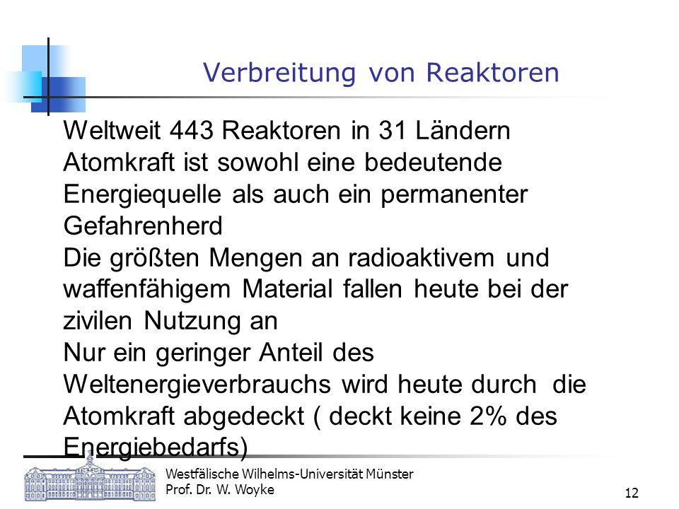 Westfälische Wilhelms-Universität Münster Prof. Dr. W. Woyke 12 Verbreitung von Reaktoren Weltweit 443 Reaktoren in 31 Ländern Atomkraft ist sowohl ei