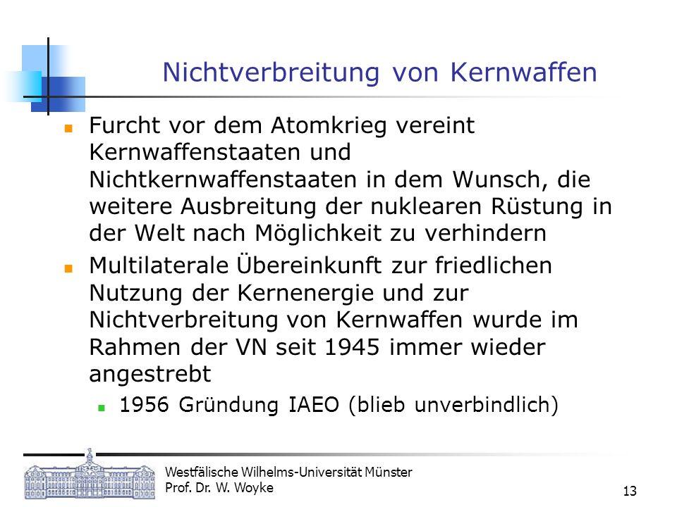Westfälische Wilhelms-Universität Münster Prof. Dr. W. Woyke 13 Nichtverbreitung von Kernwaffen Furcht vor dem Atomkrieg vereint Kernwaffenstaaten und