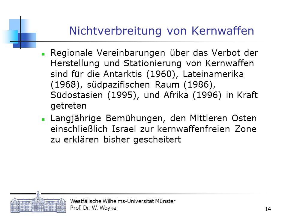 Westfälische Wilhelms-Universität Münster Prof. Dr. W. Woyke 14 Nichtverbreitung von Kernwaffen Regionale Vereinbarungen über das Verbot der Herstellu