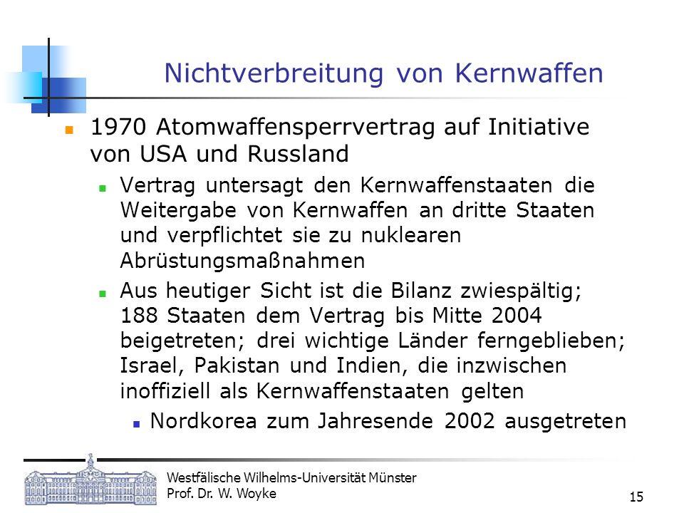 Westfälische Wilhelms-Universität Münster Prof. Dr. W. Woyke 15 Nichtverbreitung von Kernwaffen 1970 Atomwaffensperrvertrag auf Initiative von USA und