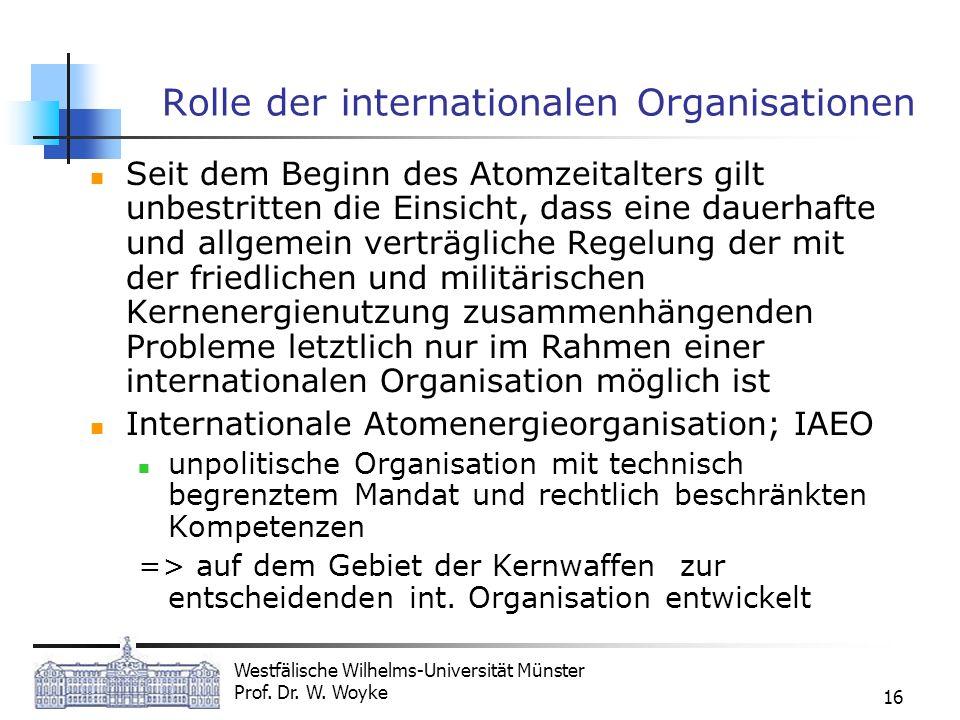 Westfälische Wilhelms-Universität Münster Prof. Dr. W. Woyke 16 Rolle der internationalen Organisationen Seit dem Beginn des Atomzeitalters gilt unbes