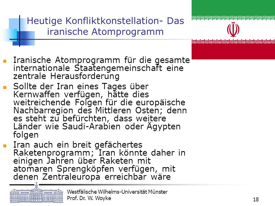 Westfälische Wilhelms-Universität Münster Prof. Dr. W. Woyke 18 Heutige Konfliktkonstellation- Das iranische Atomprogramm Iranische Atomprogramm für d