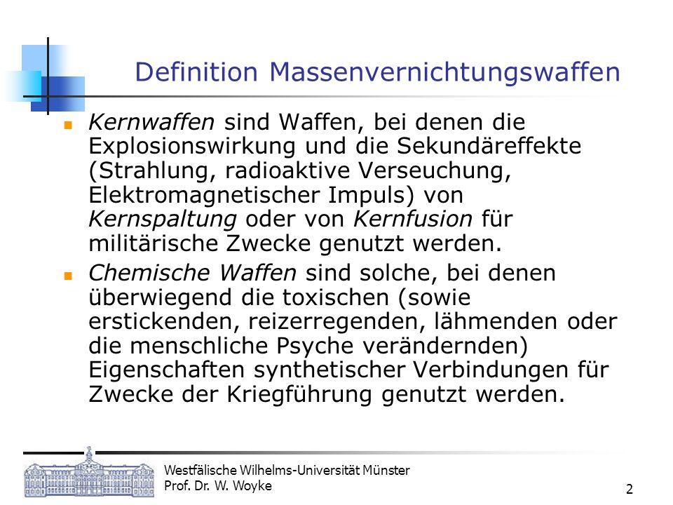 Westfälische Wilhelms-Universität Münster Prof. Dr. W. Woyke 2 Definition Massenvernichtungswaffen Kernwaffen sind Waffen, bei denen die Explosionswir