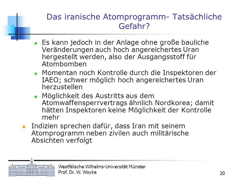 Westfälische Wilhelms-Universität Münster Prof. Dr. W. Woyke 20 Das iranische Atomprogramm- Tatsächliche Gefahr? Es kann jedoch in der Anlage ohne gro