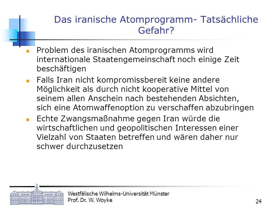 Westfälische Wilhelms-Universität Münster Prof. Dr. W. Woyke 24 Das iranische Atomprogramm- Tatsächliche Gefahr? Problem des iranischen Atomprogramms